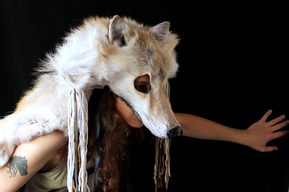 A more elaborately decorated wolf headdress