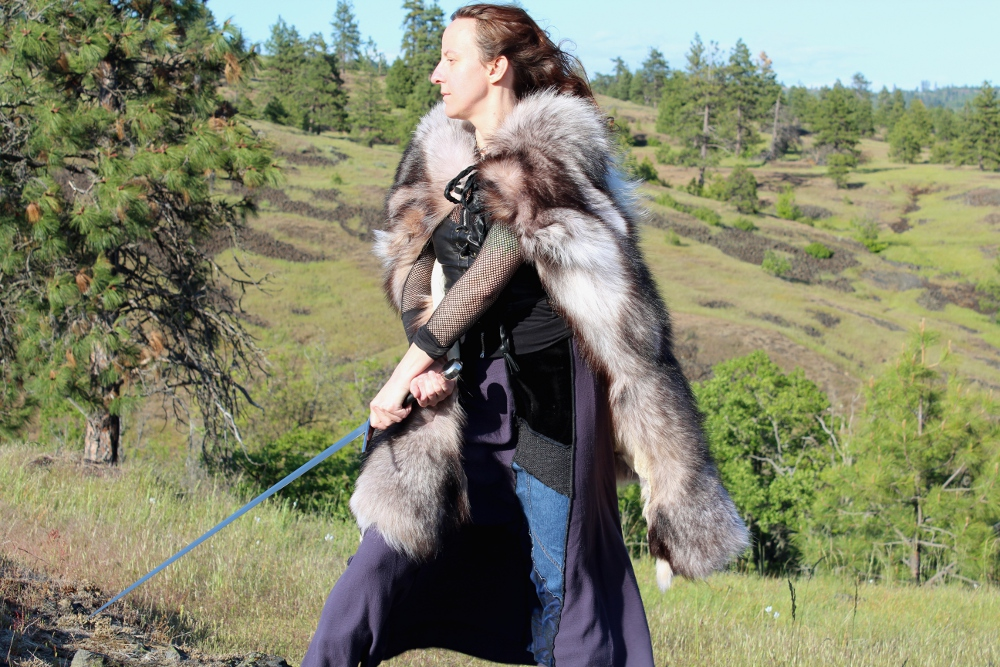 "Wolf fur cloak - self portrait from ""Wolves and Swords"" shoot, 2012."