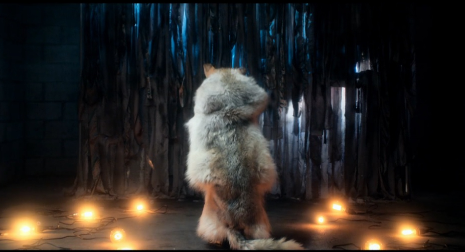 "Still from official music video for Phantogram's ""Blackout Days"" (2013), featuring one of my full hide wolf headdresses"